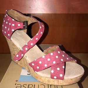 Toms, Strappy Wedge, Red Polka Dot, linen.